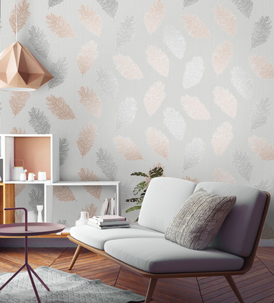 Holden Decor Astonia Feather Rose Gold 75890 Wallpaper